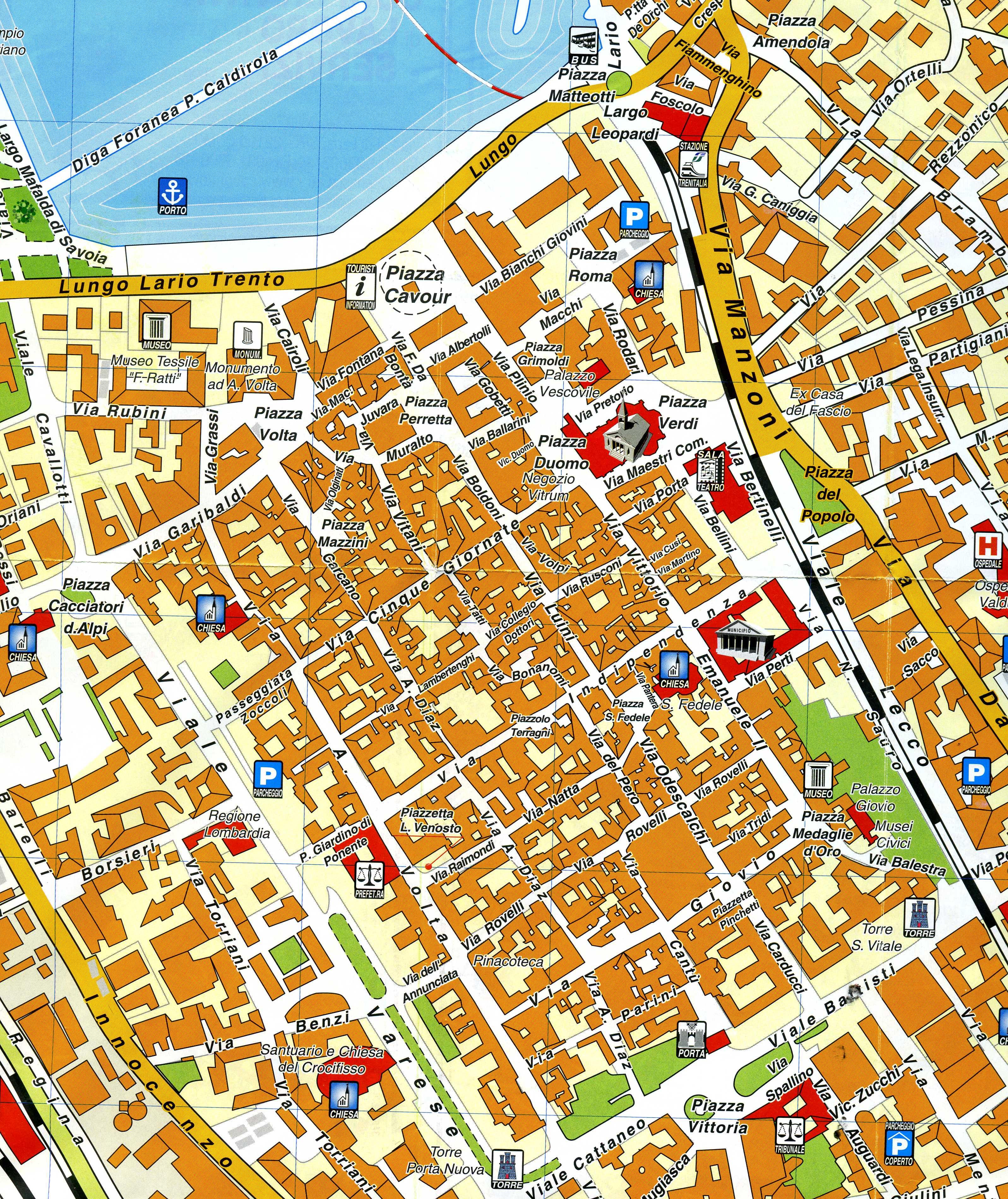 Roma Centro Storico Cartina.Mappa Del Centro Storico Di Como Coatesa Sul Lario E Dintorni