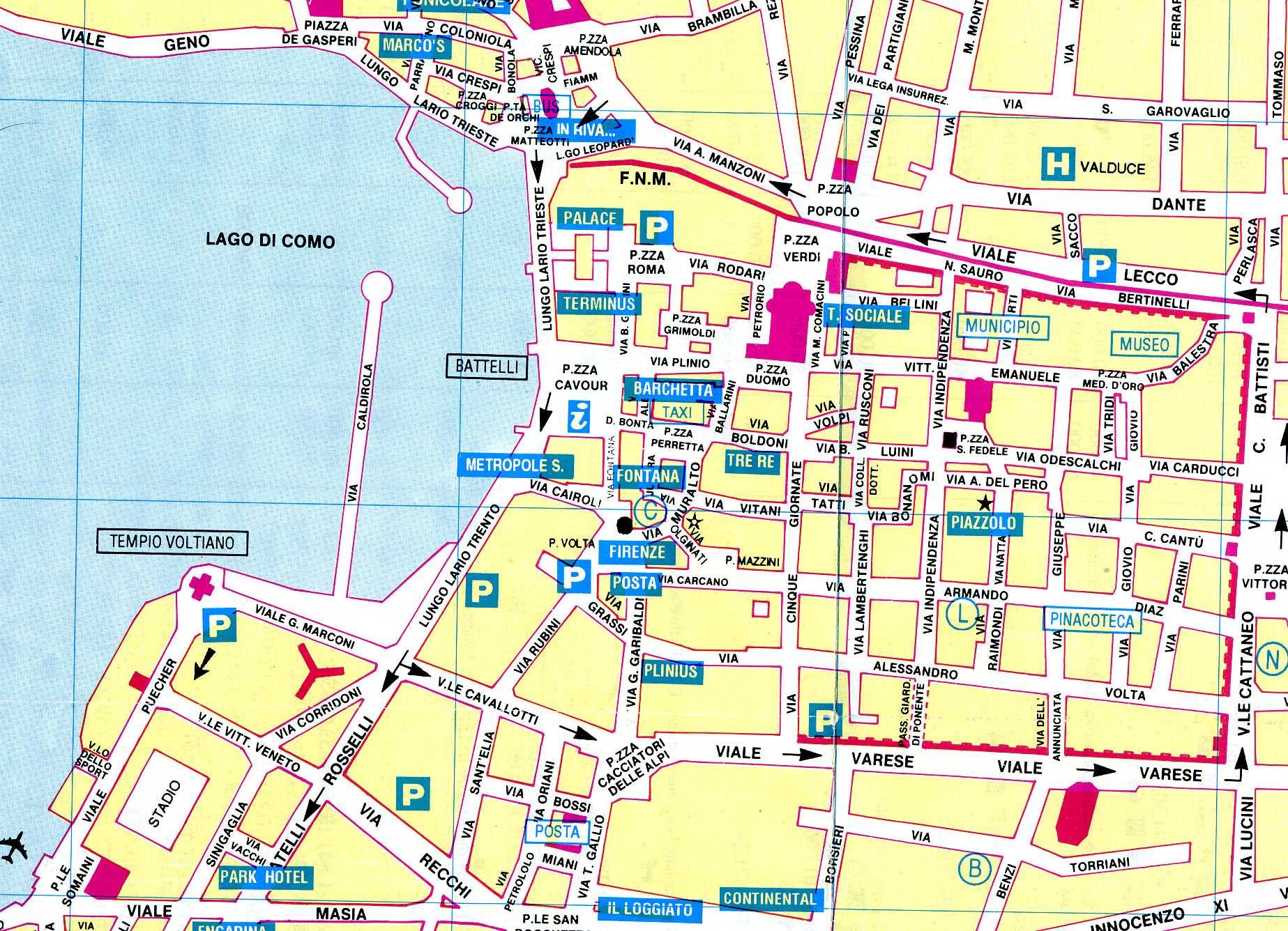 Mappa del centro storico di como con la segnalazione for Pianta con la c